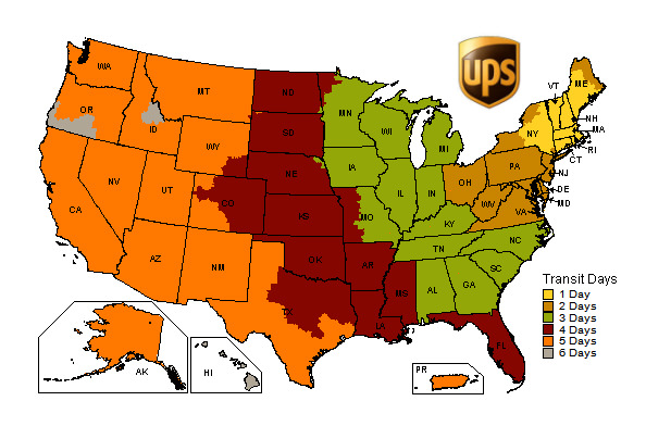 Shipping map for American